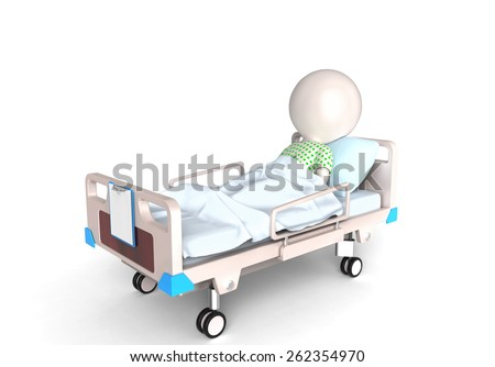 Patient in bed - stock photo