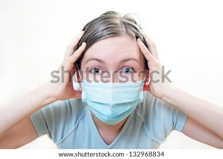 Patient in mask in crisis condition. On white background. - stock photo