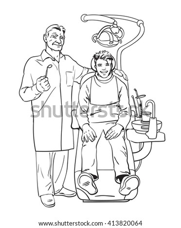 patient on examination at dentist Doctor dentist Dental surgeon reception was at dentist Dentist smiling Pleased with patient in chair.Dental treatment Dental Health, dentist doctor, dentist smile - stock photo