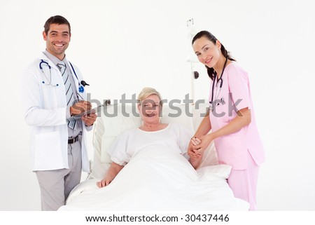 Patient Recovering in a hospital after an operation - stock photo