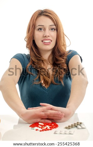 Patient saying no to medical treatment. Beautiful woman refuse to take pills. - stock photo