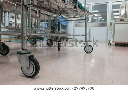 Patient stretcher trolley in operation room - stock photo