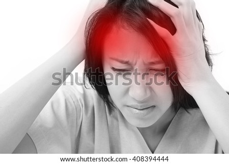 patient suffering from headache, stress - stock photo
