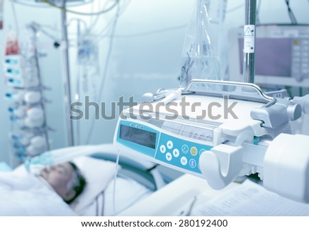 Patient unconscious in the intensive care units - stock photo