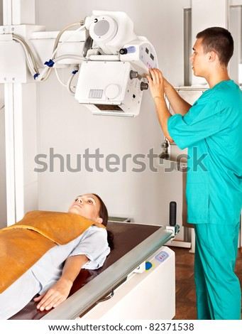 Patient with doctor radiologist. Medicine. - stock photo