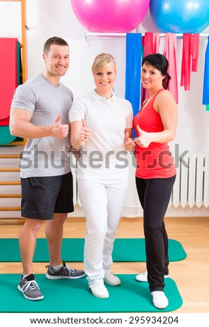 Patients at the physiotherapy after physical exercises  - stock photo