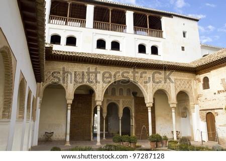 Patio de la Acequia in the Palacio del Generalife, part of the La Alhambra complex in Granada, Spain. - stock photo