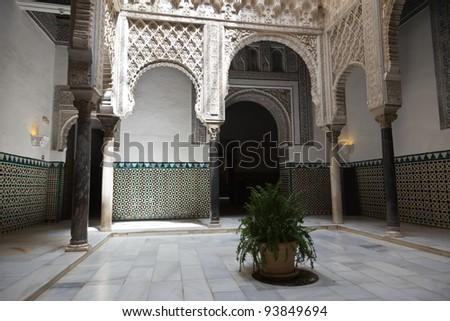 Patio de las Munecas en el Real Alcazar de Sevilla. Courtyard of the dolls in the Royal Alcazar of Seville, Spain. UNESCO World Heritage Site - stock photo