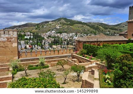 Patio de Machuca in Nasrid Palaces in La Alhambra in Granada, Spain - stock photo