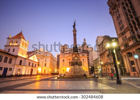 Patio do Colegio square in Sao Paulo, Brazil. - stock photo