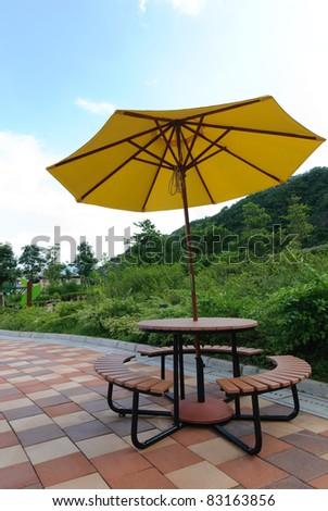 Patio umbrella - stock photo
