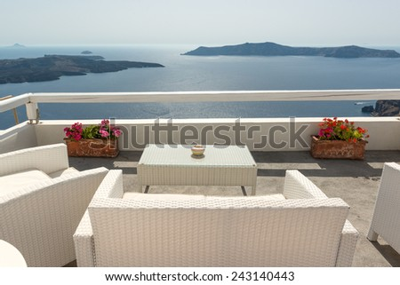 Patio with caldera view in traditional Santorini house