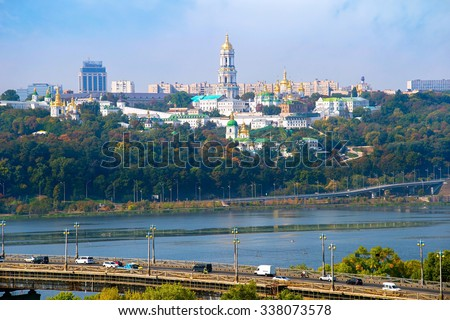 Paton bridge and Kiev Pechersk Lavra on the background. Ukraine - stock photo