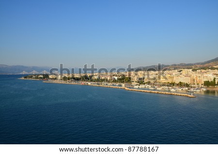 Patras Greece waterfront and Rio-Antirion Bridge - stock photo