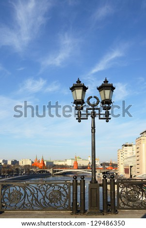 Patriarshy Bridge lamps. Moscow, Russia