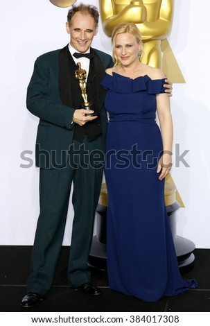 Patricia Arquette and Mark Rylance at the 88th Annual Academy Awards - Press Room held at the Loews Hollywood Hotel in Hollywood, USA on February 28, 2016. - stock photo