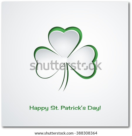 Patrick clover cut from paper. Greeting card. Paper craft. Isolated clover leaf. St.Patrick's Day background.  Happy Saint Patricks Day Background with clover. Green clover leaves. Shamrock leaf. - stock photo