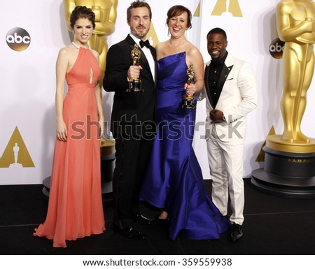 Patrick Osborne, Kristina Reed, Anna Kendrick and Kevin Hart at the 87th Annual Academy Awards - Press Room held at the Loews Hollywood Hotel in Los Angeles, USA on February 22, 2015. - stock photo