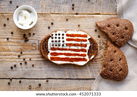Patriot breakfast - sandwich with image of american flag