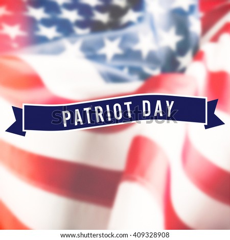 Patriot Day sign on USA flag background - stock photo