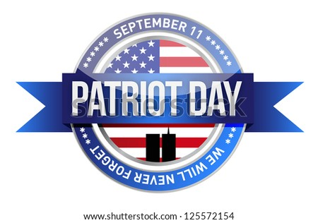 patriot day. us seal and banner illustration design - stock photo