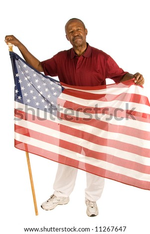 Patriotic African American man. - stock photo