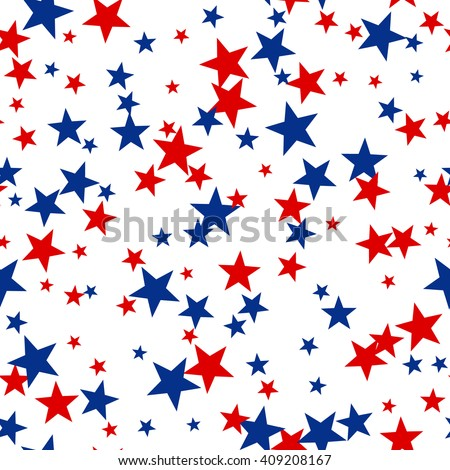 Patriotic American Seamless Pattern with Red and Blue Stars on White Background