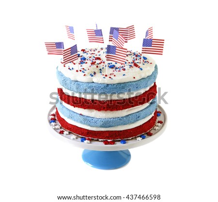 Patriotic cake isolated on white background - stock photo