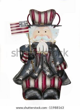 patriotic country-style figurine isolated on white - stock photo