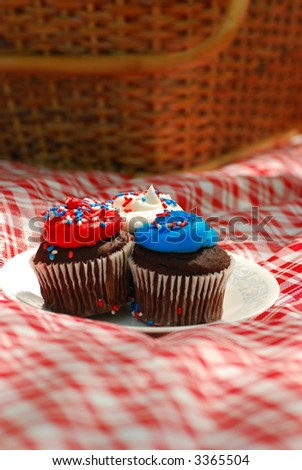 patriotic cupcakes at picnic