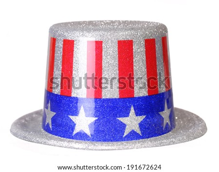 Patriotic Hat with American Flag isolated on white. Uncle Sam. Independence Day - stock photo