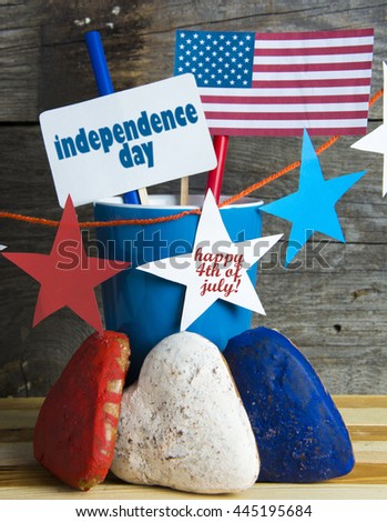 Patriotic party Concept - USA (america) flag, decoration color red, blue, white garland star-shaped, sweets, drinks, bouquet of flowers. Happy 4th of July. Independence Day  selective focus image
