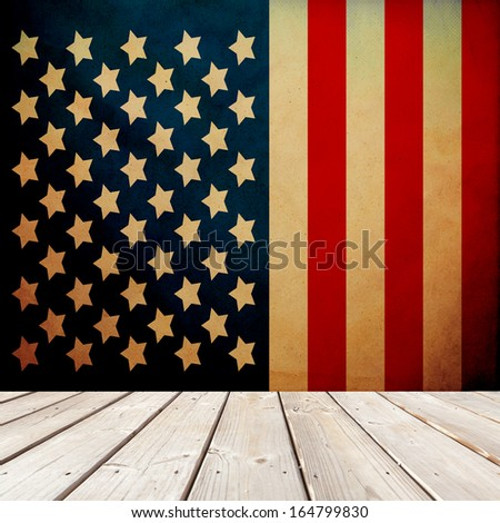 Patriotic Room (With Retro Wallpaper) - stock photo