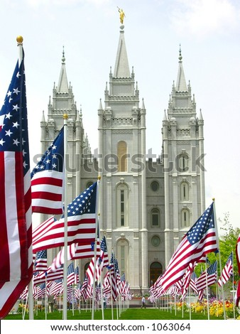 Patriotic Salt Lake Mormon Temple - stock photo