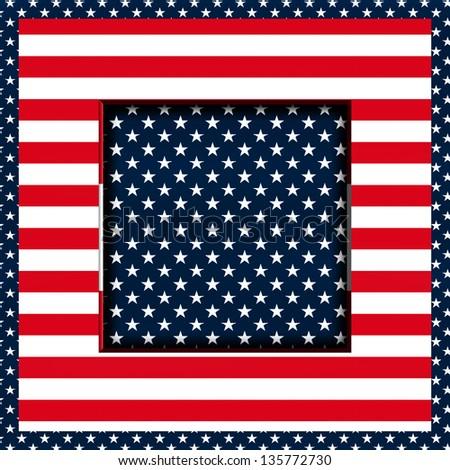 Patriotic Stars and Stripes square image (Illustration/background) - stock photo