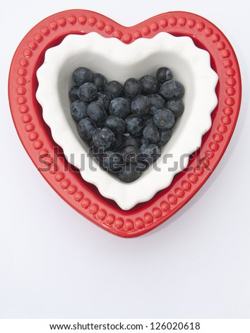 Patriotic Valentine's Day. Red, white and blueberries. - stock photo