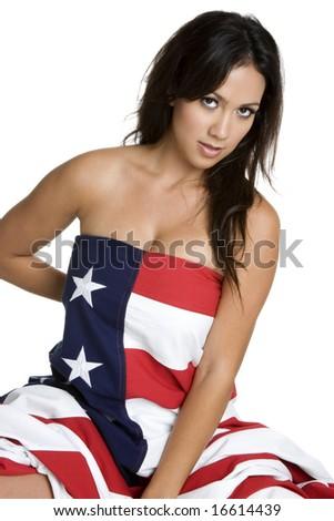 Patriotic Woman - stock photo