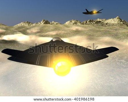 patrol of two futuristic fictional black stealth jet aircraft flying on full afterburner in a mountainous region - stock photo