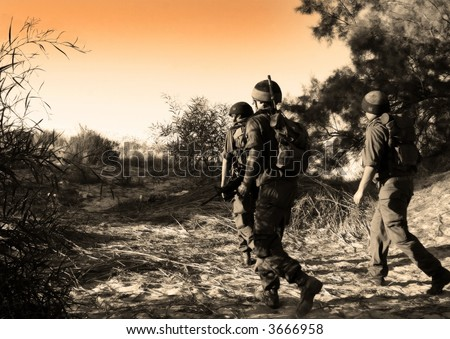 Patrol-soldiers on the task - stock photo