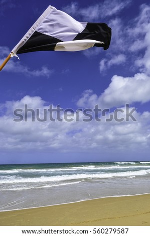 patrolled beach safety flag blows in the wind with waves and a bright blue, clouded sky behind it