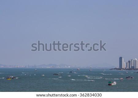 Pattaya beach and city bird eye view, Chonburi, Thailand - stock photo