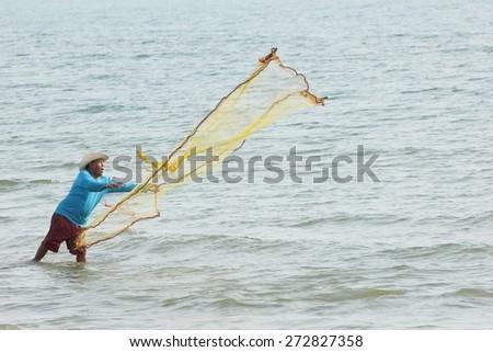 PATTAYA BEACH THAILAND APRIL 22 ,The fishermen were netting to catch fish on the Pattaya beach Thailand on April 22 2015 - stock photo