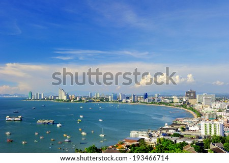 Pattaya Beach,Thailand,View from the top. - stock photo