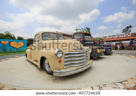 PATTAYA CHONBURI - APRIL,19 : The Chevrolet retro truck vintage Collection of Classic Cars Museum parked in Swiss sheep farm Where have many tourists visiting here every holiday.THAILAND APRIL,19 2016 - stock photo