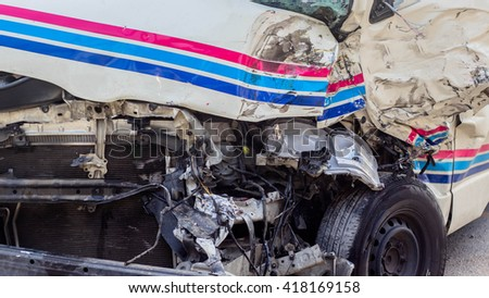 Pattaya,Chonburi, THAILAND - APRIL 15 : Front side of white private car damaged after get heavy on the highway road accident on April 15, 2016 in Chonburi, Thailand. - stock photo