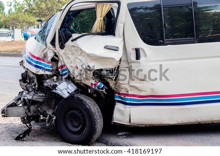 Pattaya,Chonburi, THAILAND - APRIL 15 : Front side of white private car damaged after get heavy on the highway road accident on April 15, 2016 in Chonburi, Thailand.