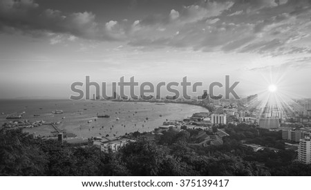 Pattaya City and Sea with morning sunrise, Thailand ,  black and white