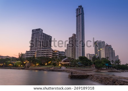 Pattaya City beach and Sea in Twilight, Thailand