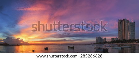 Pattaya City, beach and Sea with sunset, Thailand