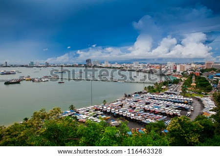 Pattaya city bird eye view - stock photo